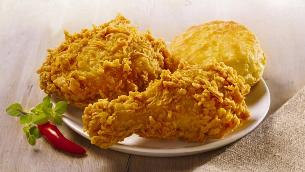 Popeyes fried chicken with a biscuit
