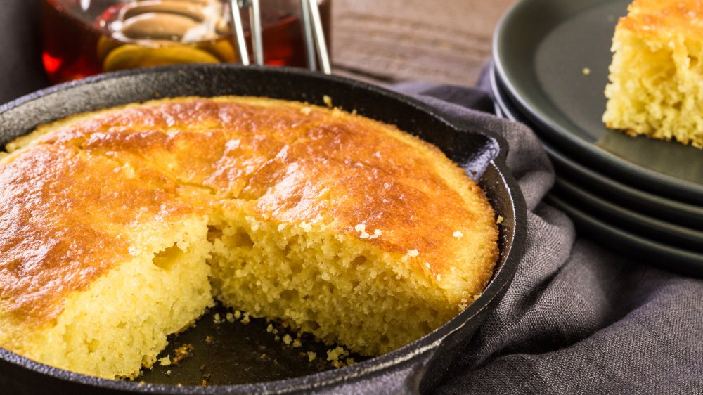 Cornbread in a cast iron pan