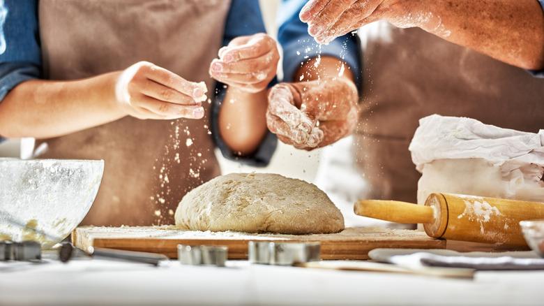 people making bread