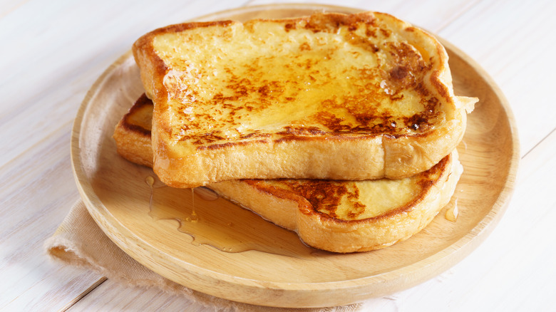 Stack of French toast with syrup