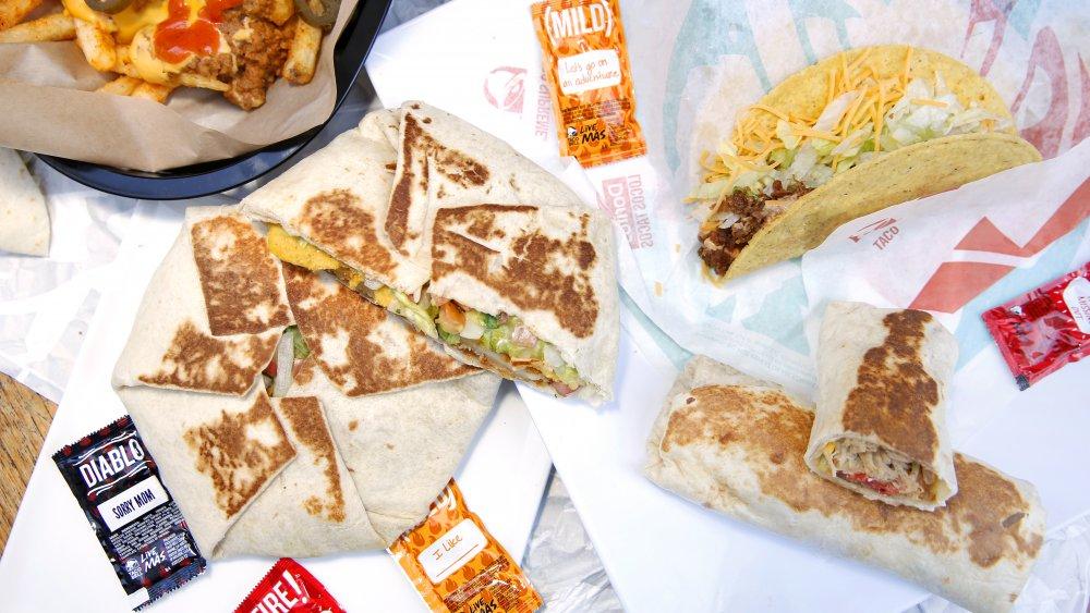 Taco bell tacos, burritos, and quesadillas