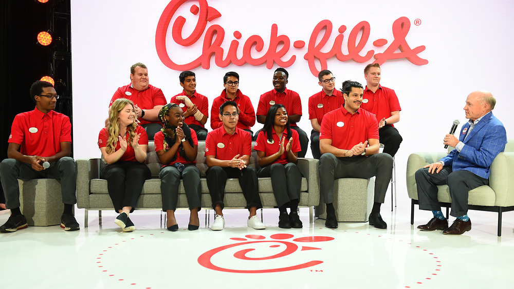 Dan Cathy with Chick-fil-A employees