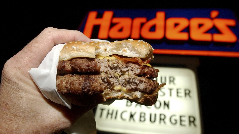 Hardee's sign and burger