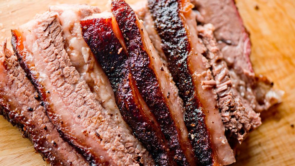 Beef brisket sliced up