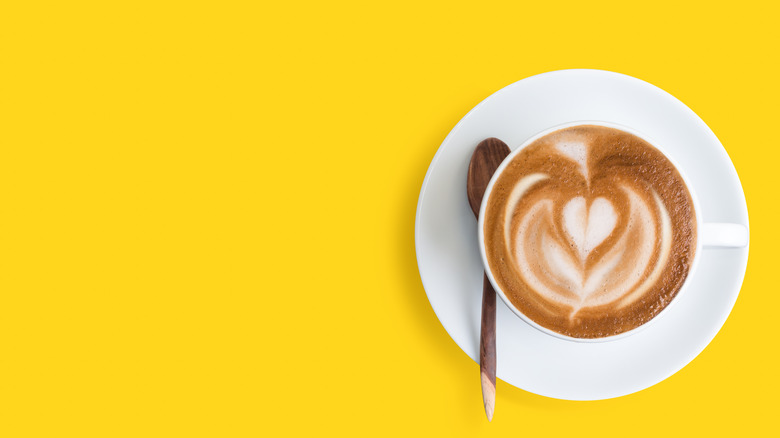 latte on a yellow background