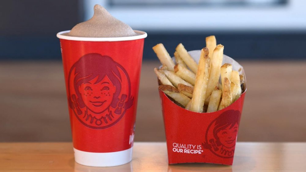Wendy's Classic Chocolate Frosty and fries