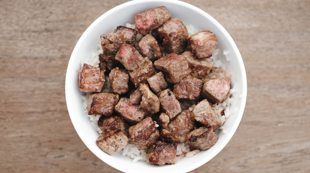 Beef tips in a bowl