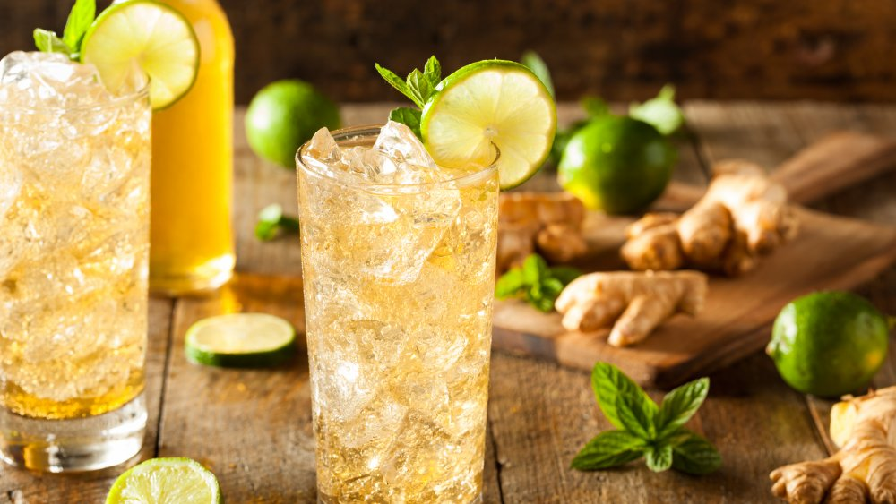 Glasses of ginger beer with lime