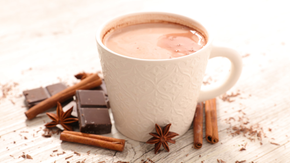 White mug of hot chocolate with chocolate chunks, cinnamon sticks, and allspice