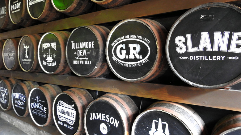 Barrels of Irish Whiskey with white lettering