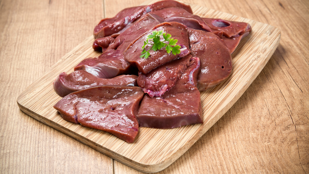 Sliced raw beef liver