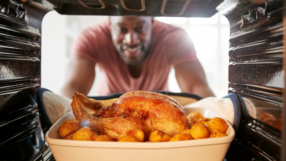 Man cooks chicken dinner view from inside stove