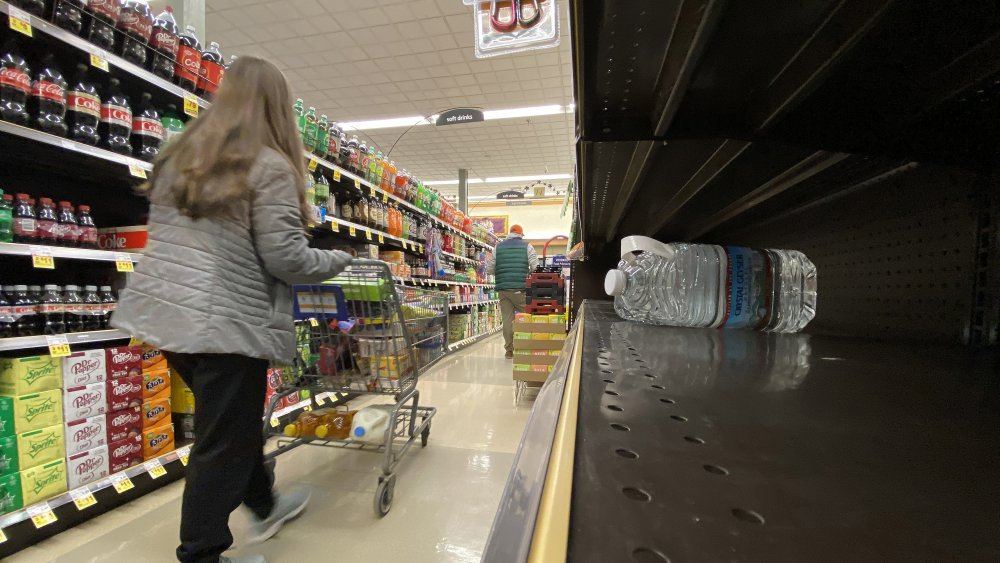 Shoppers practice social distancing