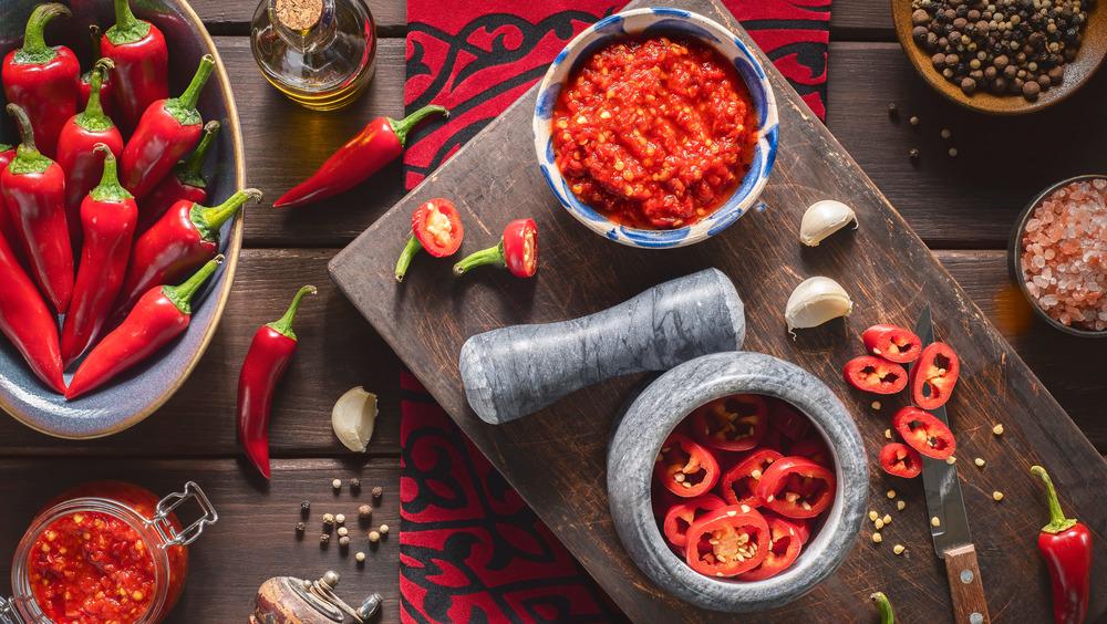 Chilis and mortar and pestle