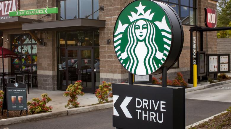 Starbucks drive-thru sign