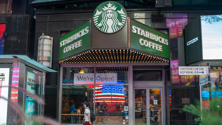 front of a Starbucks location