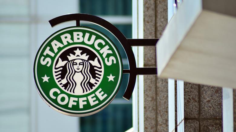 Starbucks logo outside shop