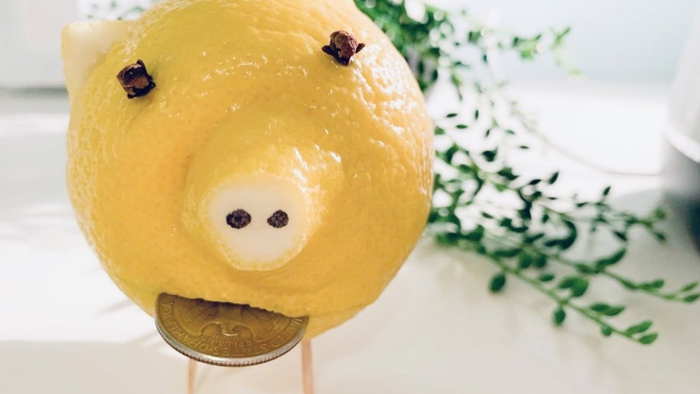 Lemon pig with penny in mouth