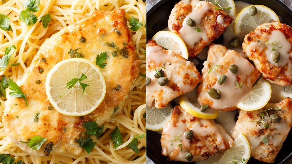 Juicy chicken francaise and chicken piccata