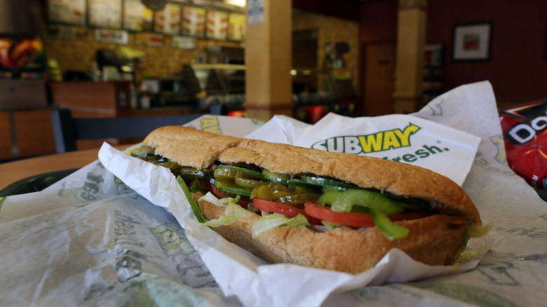 Subway sandwich with tomatoes and lettuce