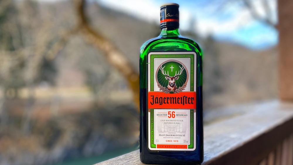 Bottle of Jägermeister against nature background