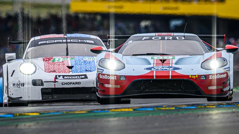 Race cars at Le Mans