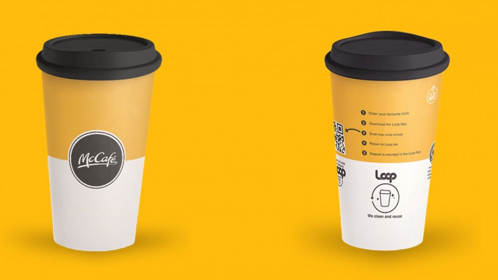 Front and back images of the new reusable McDonald's cup