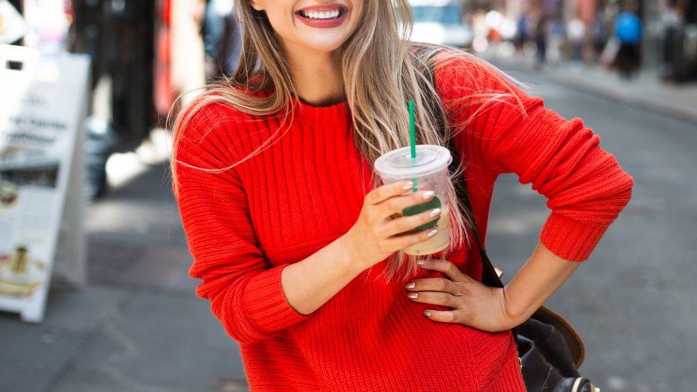 American drinking iced coffee