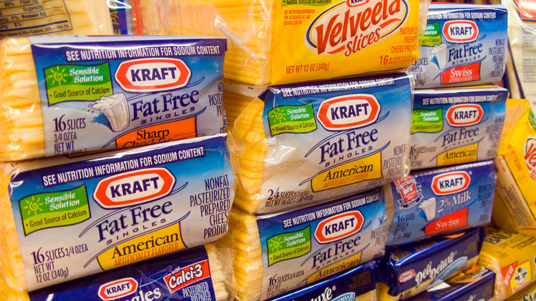 Processed cheese on shelf