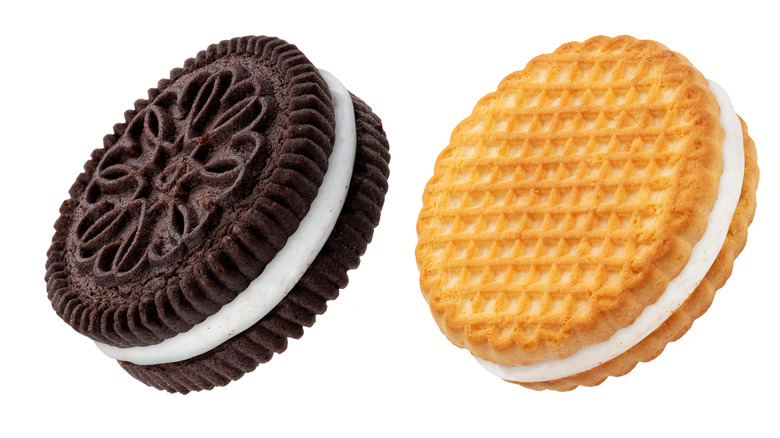 Oreo-like cookie with golden wafer cookie