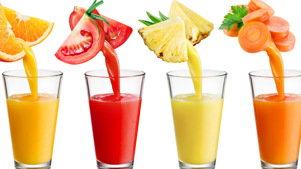orange, tomato, pineapple, and carrot juices
