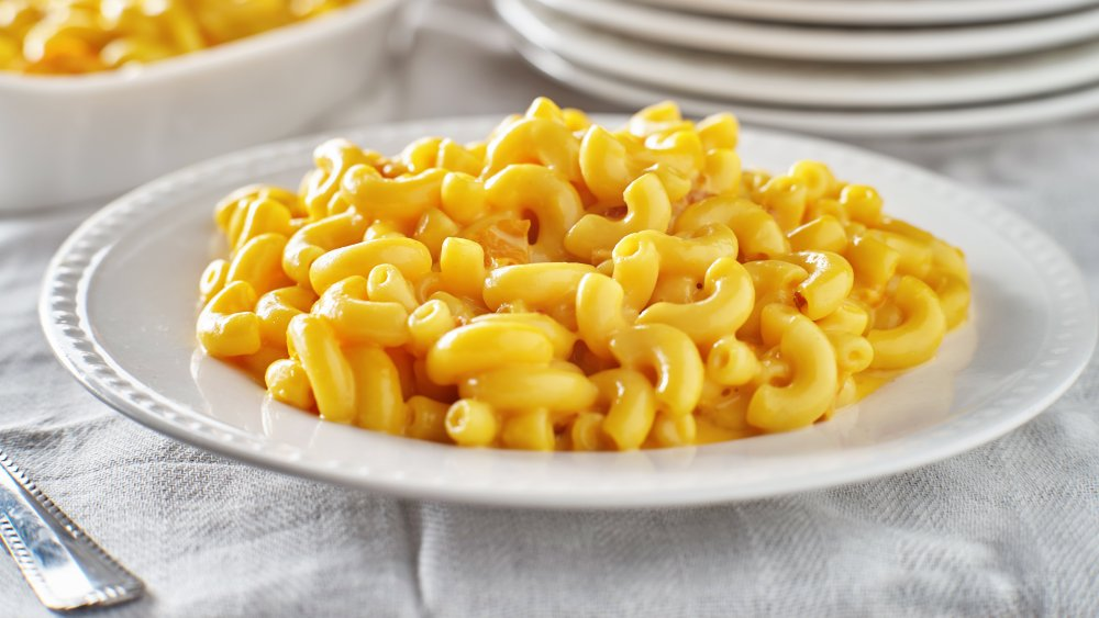 Macaroni and Cheese in a bowl on a table
