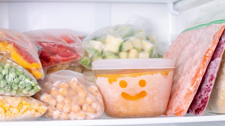 Healthy food stocked freezer