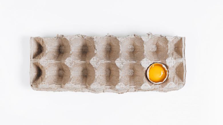 Almost-empty egg carton