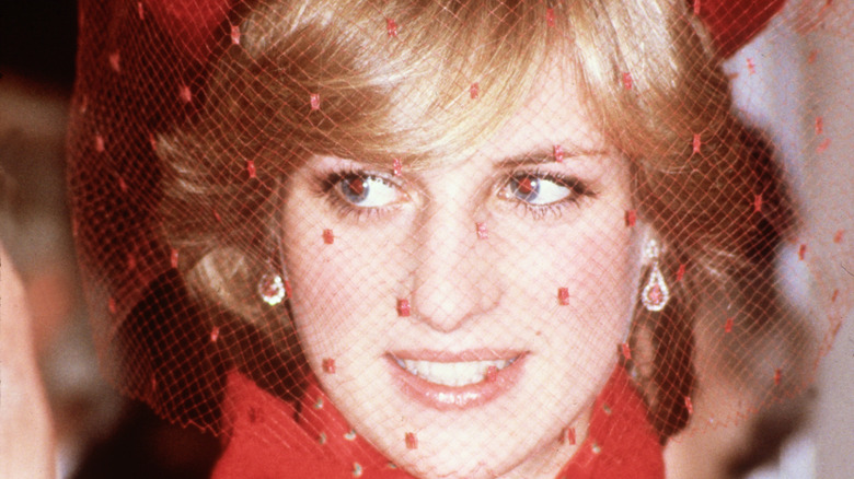 Princess Diana in red veil