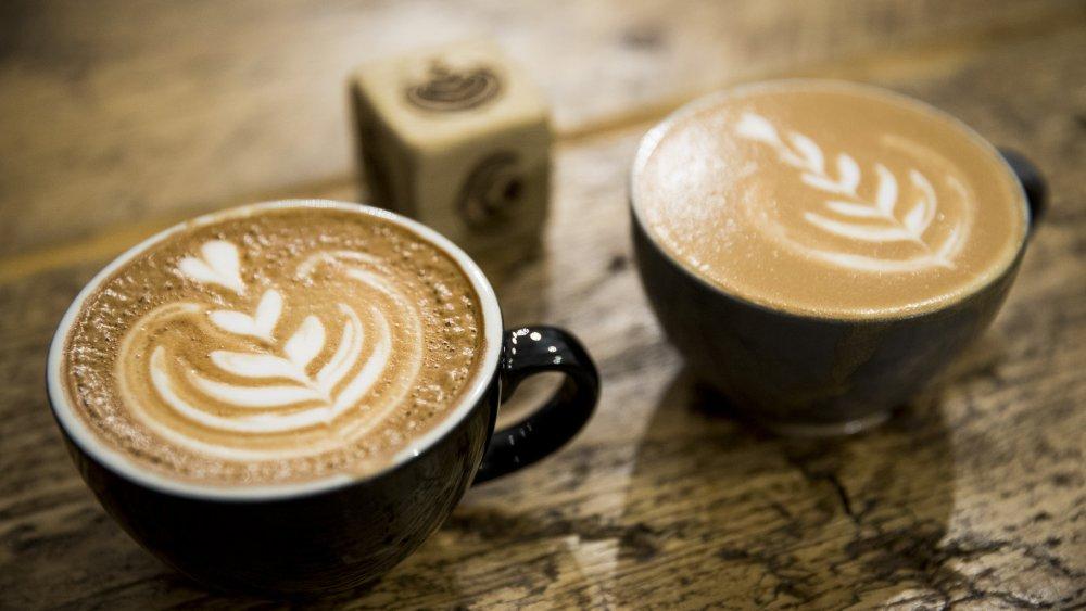 Fancy lattes with designs in the foam