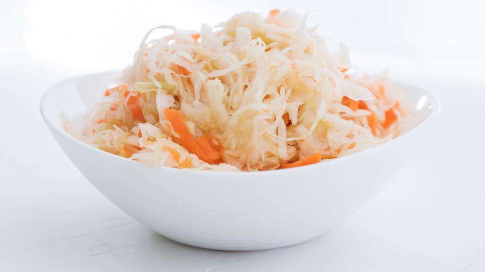 A serving of sauerkraut