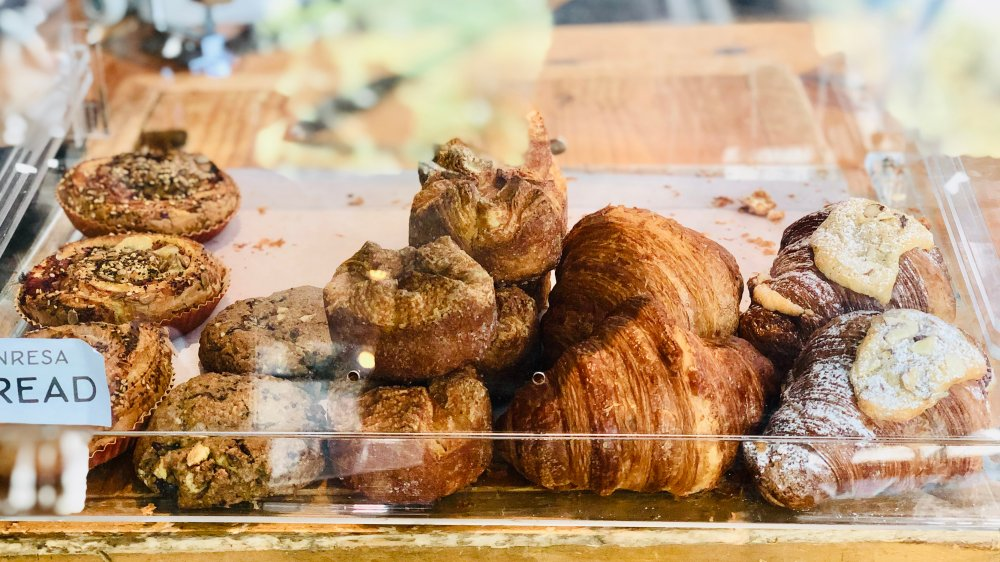 Pastries in display case