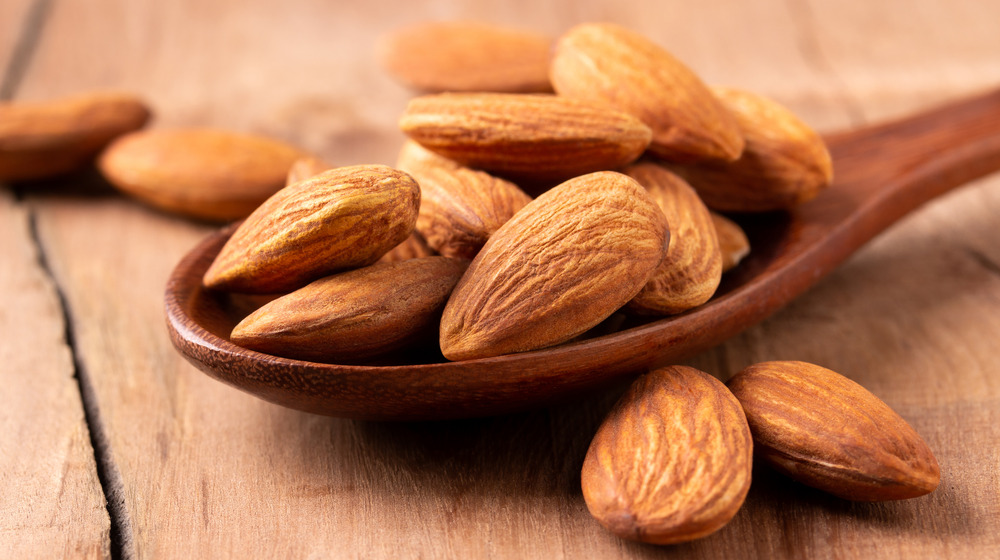 Almonds on a spoon
