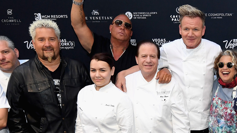 Gordon Ramsay, Guy Fieri, and others smile on red carpet in Las Vegas