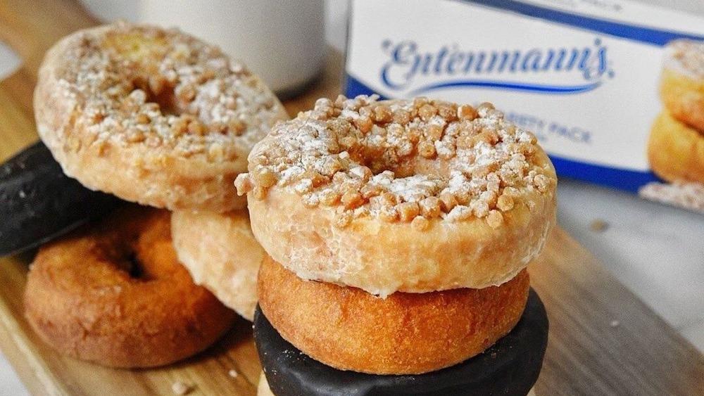 Entenmann's donuts on a cutting board