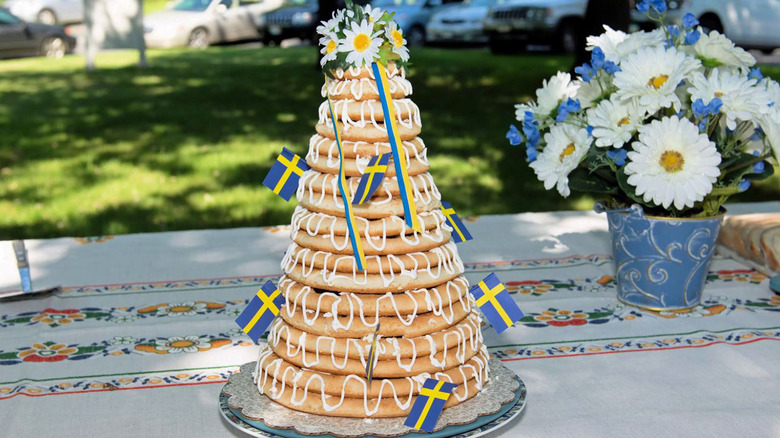Kransekake cake with fresh flowers