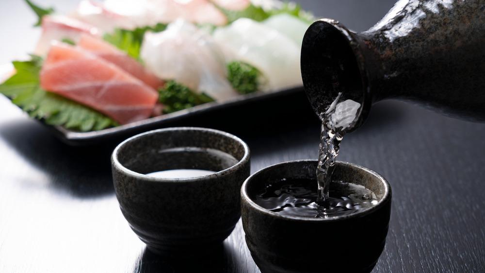 sake beverage being poured