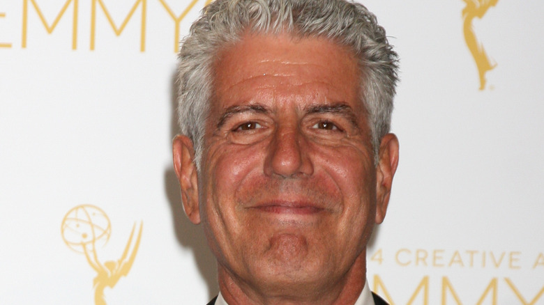 Closeup of Anthony Bourdain at the Emmys