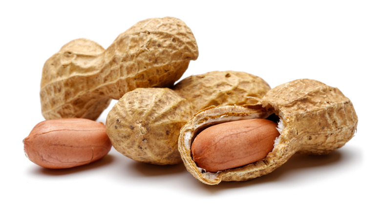 Peanuts against white background