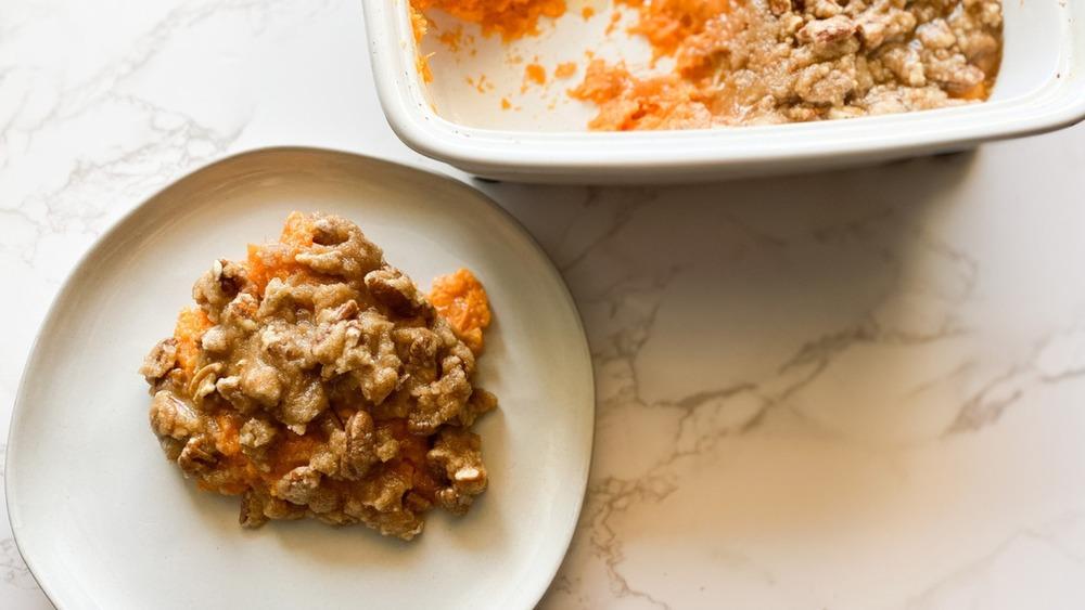 Sweet potato casserole served