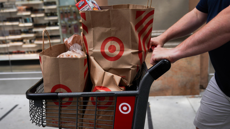 Target cart with bags inside