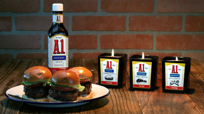 A1 candles with burgers