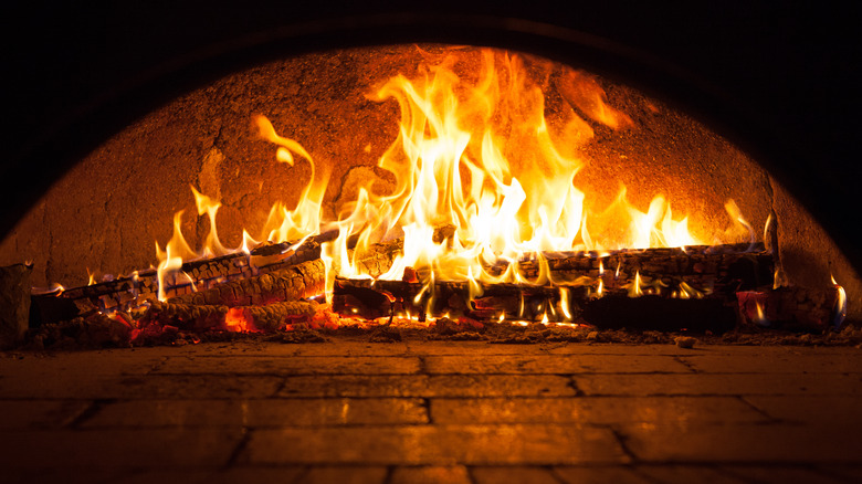 Brick oven with fire