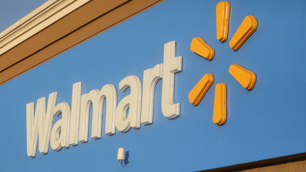 Walmart sign at an angle